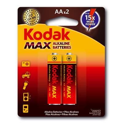 C119002 - Kodak AA Max Alkaline Batteries 2 Pack