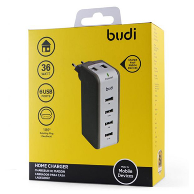 T181063 - Budi 6 USB 36W Car Charger Swivel