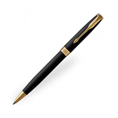 P101310 - Parker Sonnet Matte Black Gold Trim Ballpoint Pen