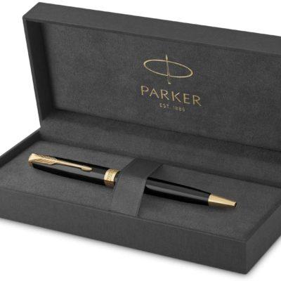 PARKER Sonnet Slim Ballpoint Pen, Black Lacquer with Gold Trim, Medium Point Black Ink