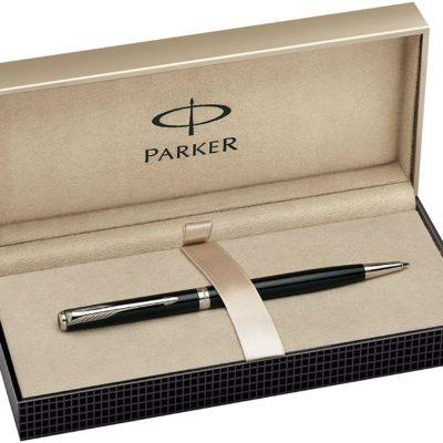Parker Sonnet Slim Black Lacquer Chrome Trim Ball Pen - Gift Boxed